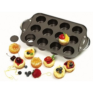 "Norpro MINI CHEESECAKE PAN WITH HANDLES, 12 COUNT 14"" x 8"" x 1.75""  nonstick contoured Riveted, zinc-alloy handles"