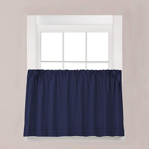 "Saturday HOLDEN 57""x45"" WINDOW TIER PAIR IN NAVY 100% POLYESTER W/C"