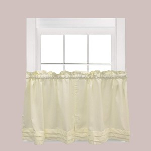 "Saturday HOLDEN 57""x24"" WINDOW TIER PAIR IN NATURAL 100% POLYESTER W/C"
