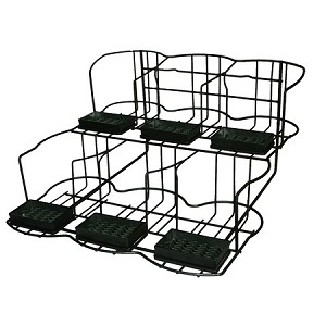 "APR6 Airpot Rack. Accommodates 6 airpots and includes drip trays. Black Dimensions: 17 7/8""H x 14 7/8""W x 23""D"