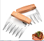 SKPYFD Meat Claws,Meat Shredder Claws, Heat Resistant Stainless Steel BBQ Meat Claws for Shredding Meat with Wood Handle