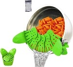 Silicone strainer,clip on kitchen food strainerhands-free clip-on heat resistant for pour spout for pasta Spaghetti vegetable noodles pot bowl pan green