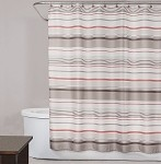 Saturday Knight  Coral Garden Stripe fabric shower curtain 70x72